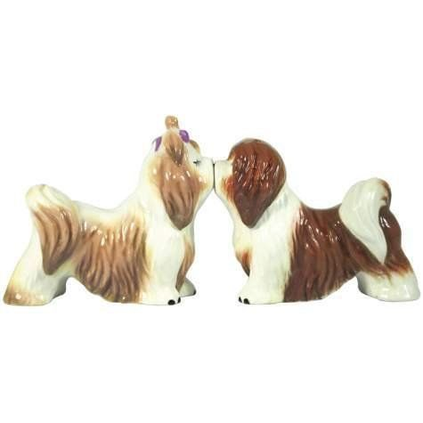 """Mwah Lhasa Apsos Magnetic Salt & Pepper Shakers by Westland Giftware. $9.00. Made of ceramic with glossy finish. Measures 3"""" high. Hand wash only. Great for puppy lovers! ITEM # 93939 New in its original box Made By Westland Giftware"""