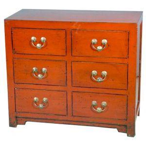 Commode chinoise peinte 6 tiroirs - mobilierdasie.com