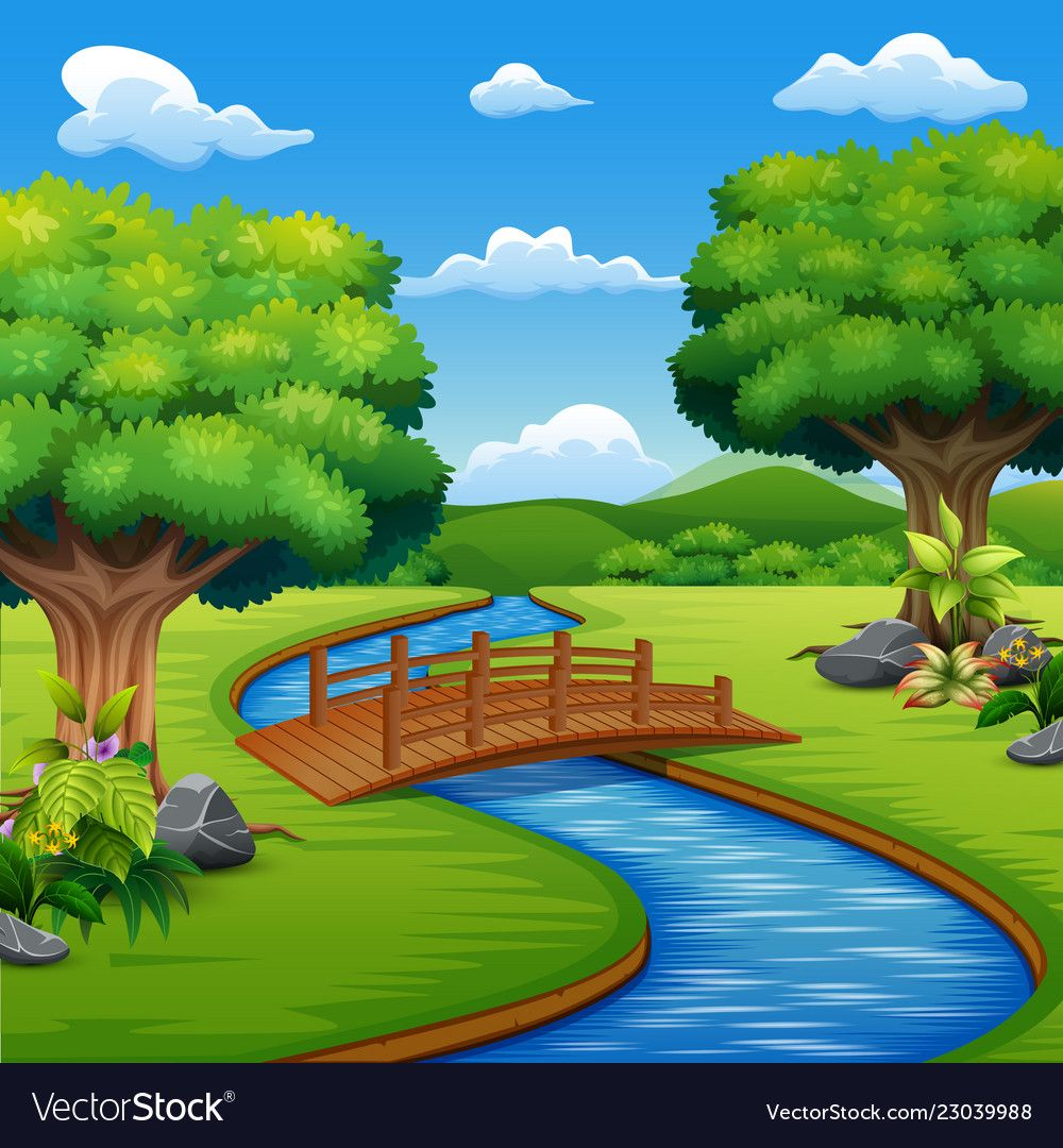 Background Scene With Bridge Across In The Park Vector Image On Wall Painting Artist Painting Nursery Paintings
