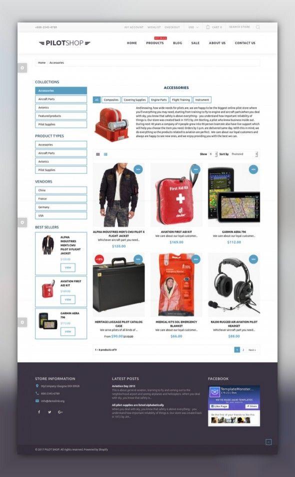 PilotShop - Pilot Supplies Responsive Shopify Theme | Template ...