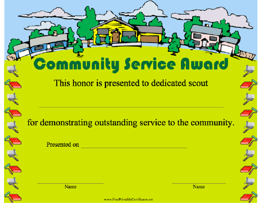 recognize and thank your scouts with this green community service award certificate featuring. Black Bedroom Furniture Sets. Home Design Ideas