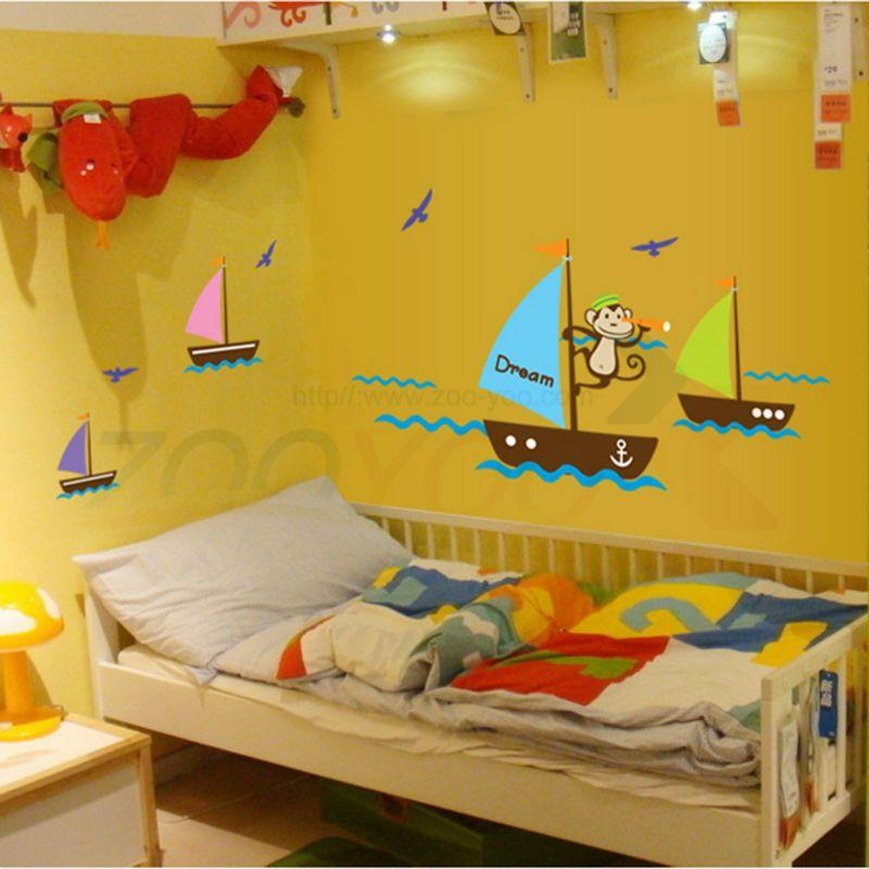 monkey seek dream boating in the sea wall decal zooyoo7043 ...