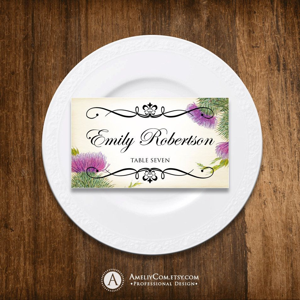 printable wedding place cards vintage%0A Place Card Printable Wedding Rustic Purple Thistle Instant Download DIY  EDITABLE Fold PlaceCard Template  Escort