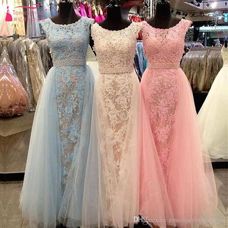Lace Luxury Mermaid Prom Dresses O-Neck With Detachable Evening ...
