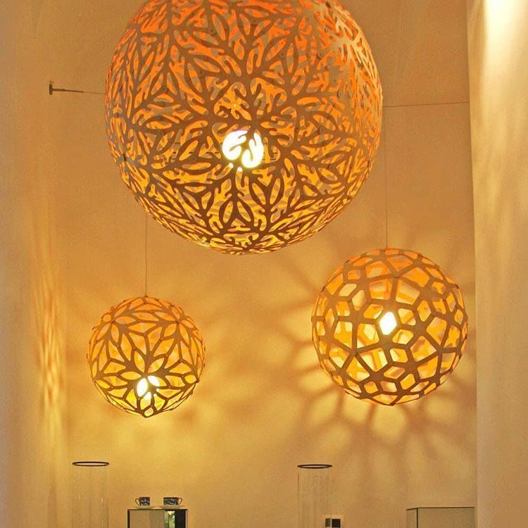 Pendant Lights By David Trubridge: SOLA (center) E With FLORAL And CORAL,