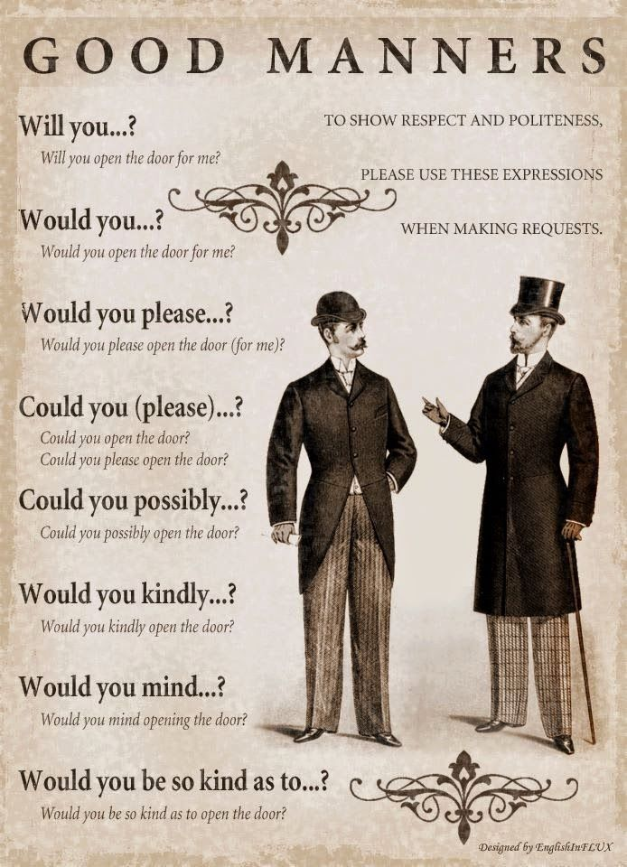 English is FUNtastic: Good Manners - to show respect and politeness, please use these expressions when making requests: