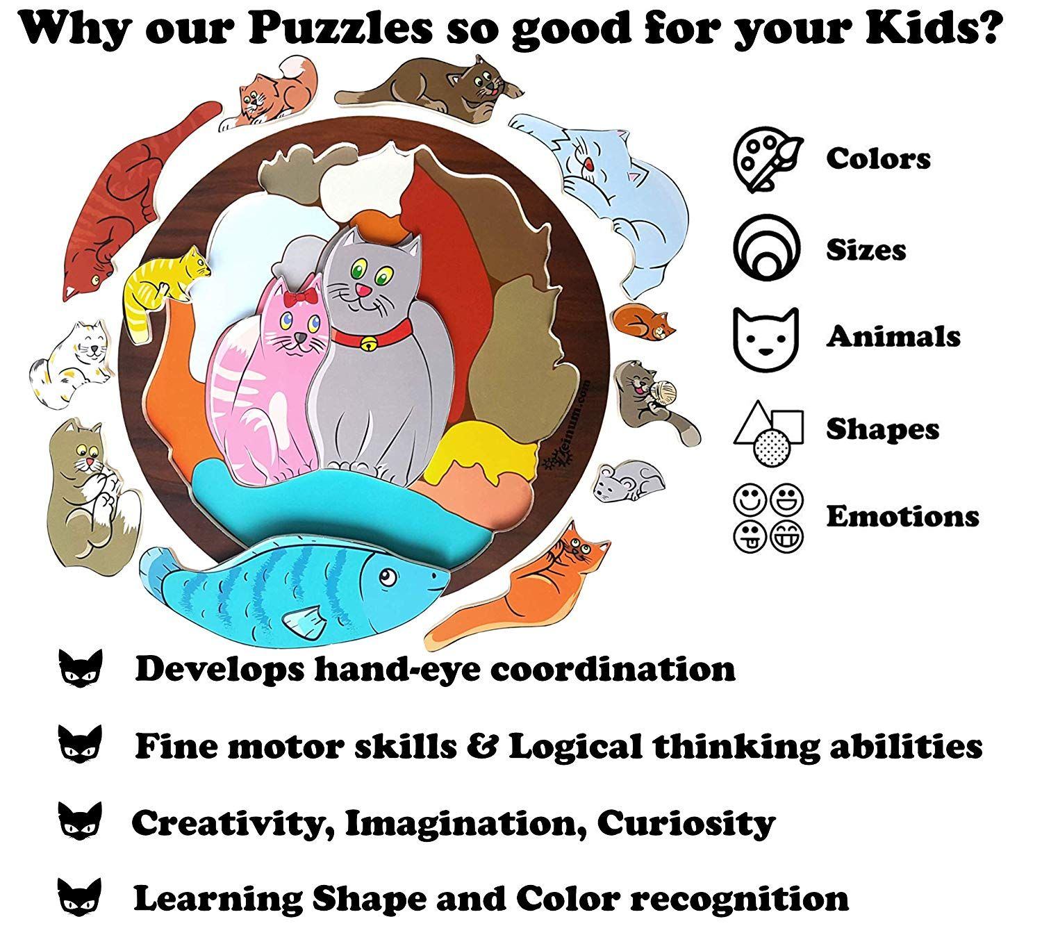Boy Girl Baby Toddler Educational Idea Three Four Five Year Old Jigsaw Montessori Toy Cats are Nice Animals Zeinum Preschool Kid Education Learning Kit Chunky Wooden Puzzle