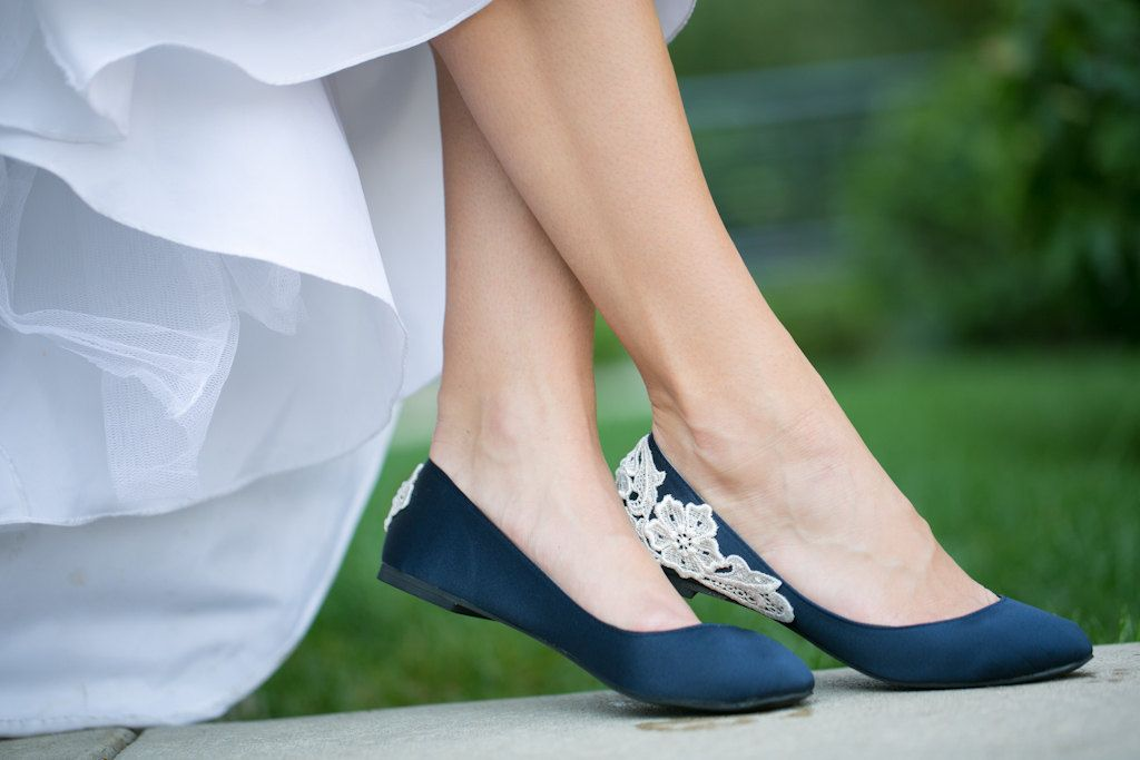 Wedding Flats Navy Blue Shoes Satin With Ivory Lace