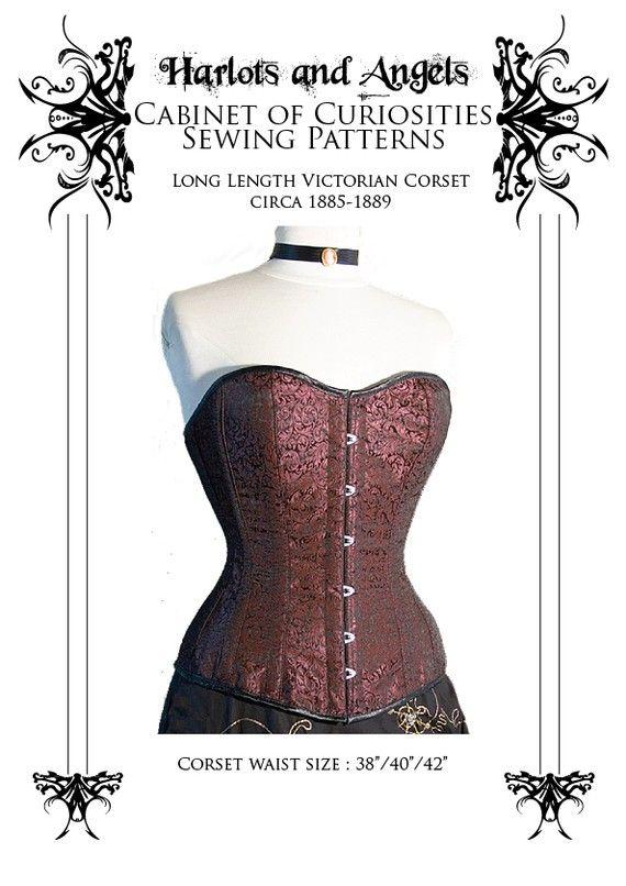 Victorian Corset Sewing Pattern long line 1880\'s XL (FBXL ...