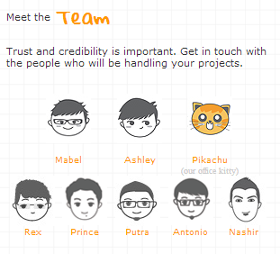 Cute avatar doodle. Like how the company presents their team with cute illustration. http://www.creativedge.sg/