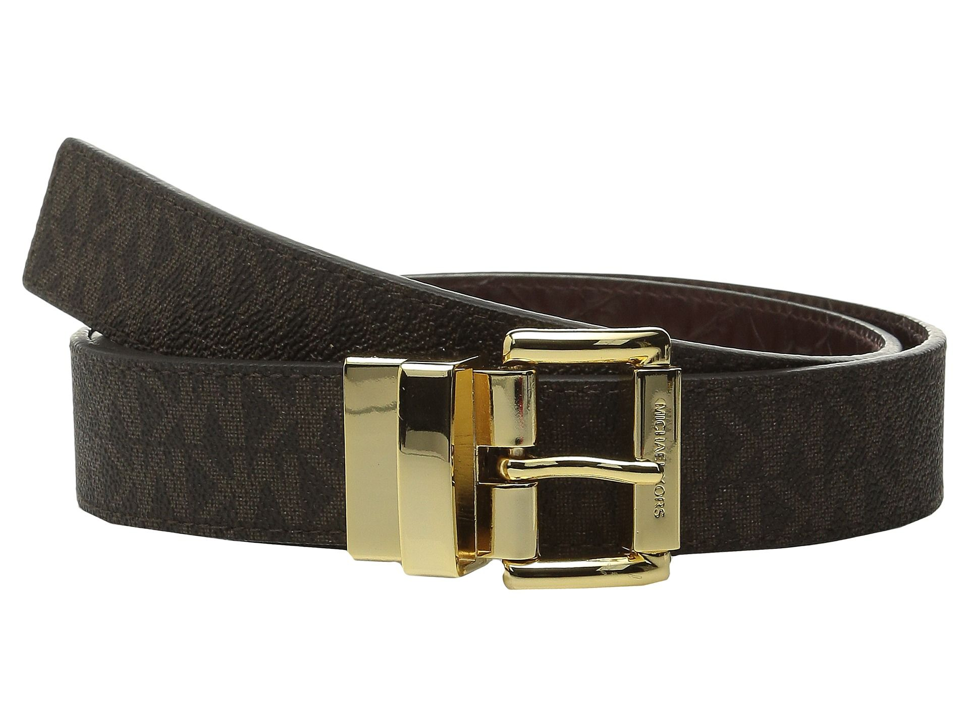 aad83b37c Women's Brown 32mm Reversible Mk Pvc Logo To Croco Belt | Michael ...