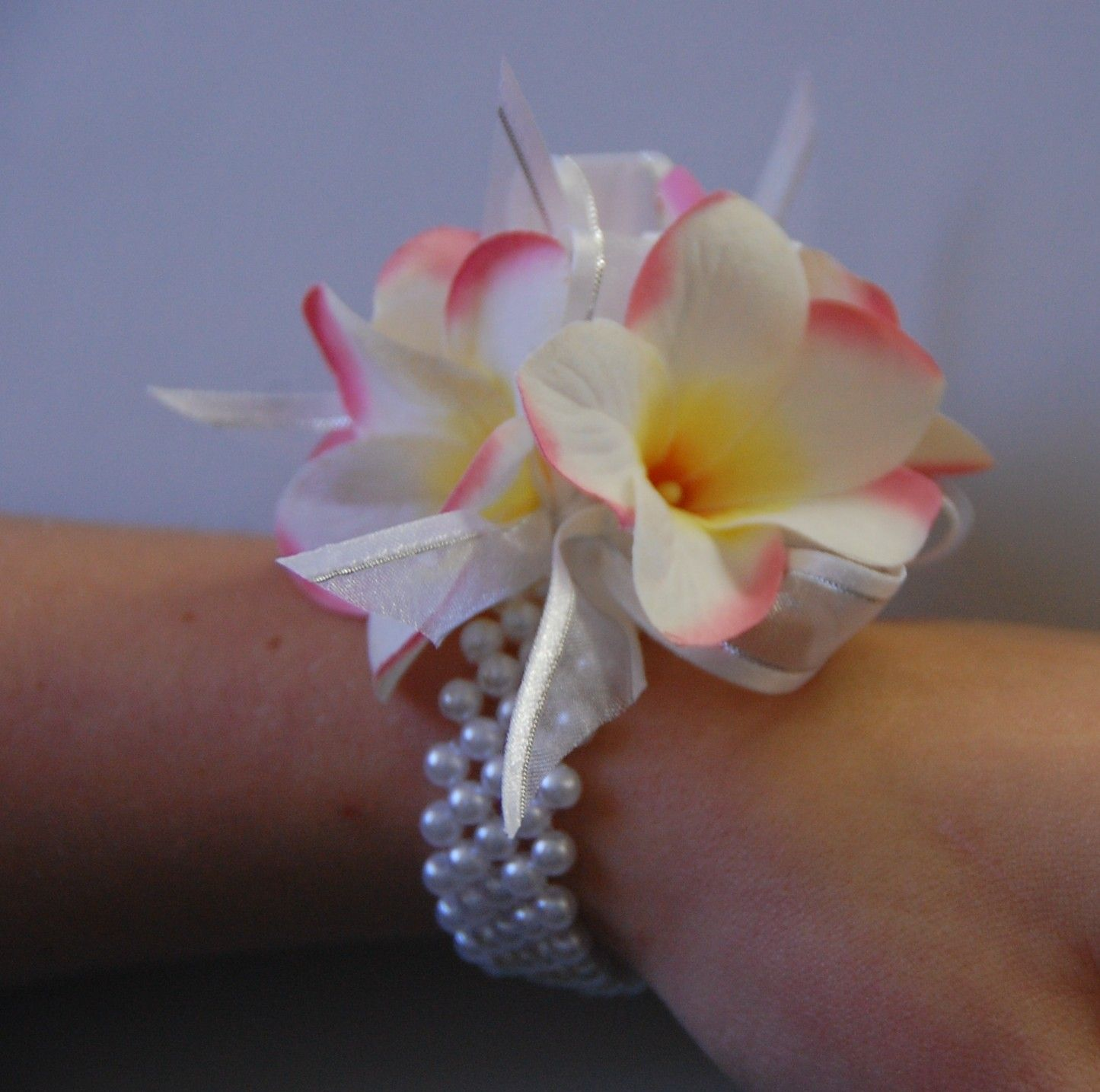 Cream Pink Frangipani Wrist Corsage Debutan Corsages Wedding