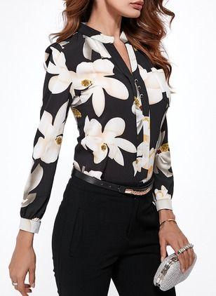 38451798d0 Floral Élégant Chifón Cuello Mangas 3 4 Camisas