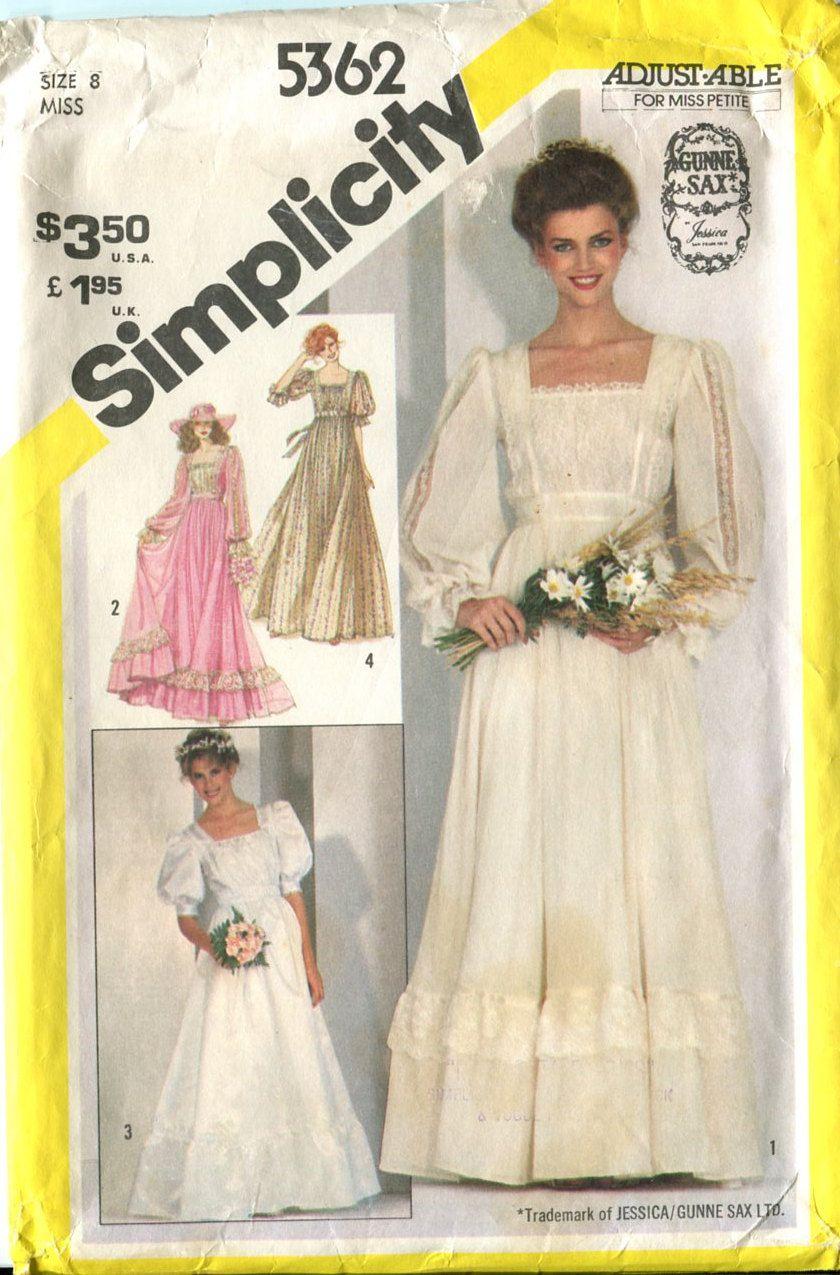1980s Gunne Sax Boho Wedding / Bridesmaid Dress Vintage