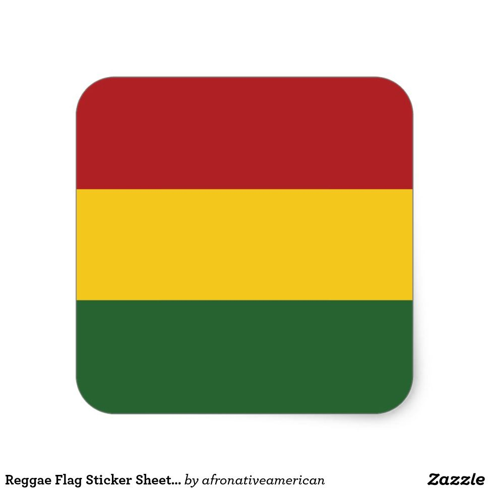 Reggae flag sticker sheet square stickers design art illustration