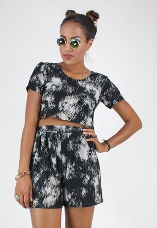 ef3d238d46f NEW TWO PIECE SUIT IN BLACK AND WHITE TIE DYE PRINT