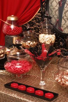 Burlesque Theme Black Lace Gold Shimmer And Red Bachelorette Parties
