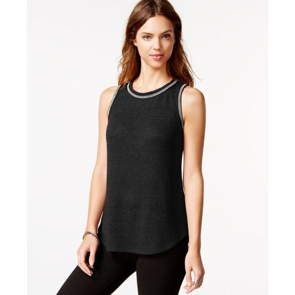 Sanctuary Michelle Sleeveless Embellished Top ($35) ❤ liked on Polyvore featuring tops, black, black beaded top, sanctuary tops, embellished sleeveless tops, black sleeveless top and black embellished top