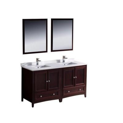 Fresca Oxford 60 in. Double Vanity in Mahogany with Ceramic Vanity Top in White and Mirror-FVN20-3030MH - The Home Depot