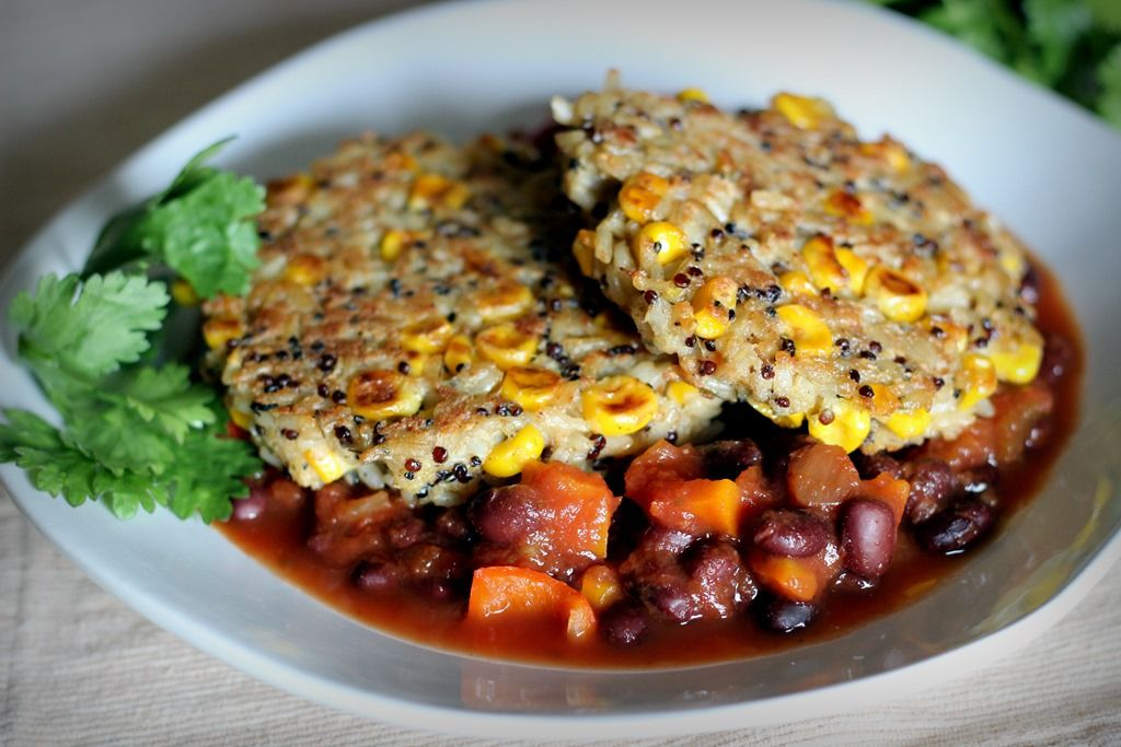 rice, quinoa, and corn cakes with black bean salsa