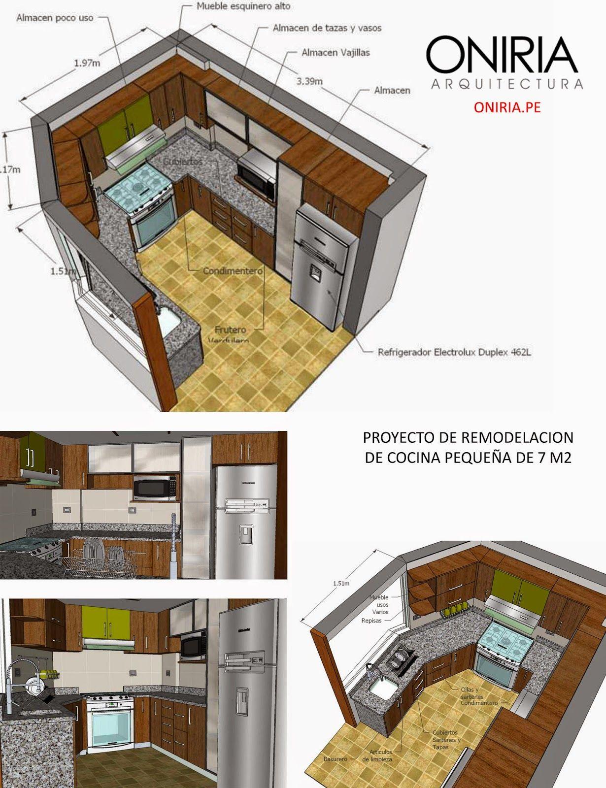 Oniria: Proyecto de Remodelacion de Cocina Pequeña de 7 m2 ...