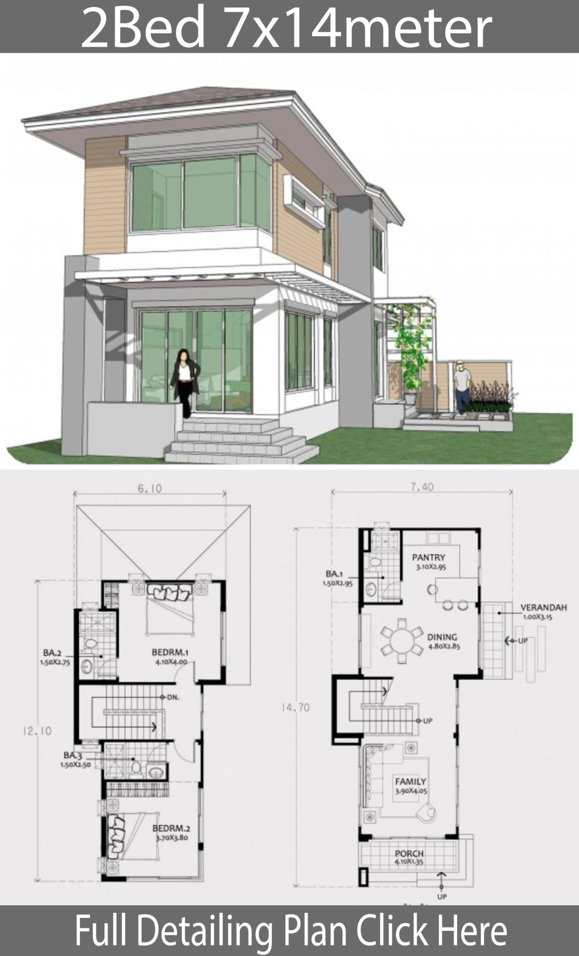 Small Two Story House Plan 7x14m Home Design With Plansearch