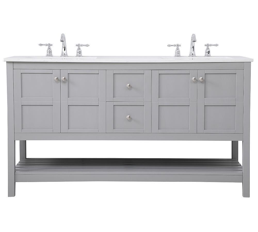 Reeves 60 Double Sink Vanity Gray Double Sink Vanity Vanity Sink Bathroom Vanities Without Tops