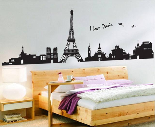 I Love Paris Skyline Silhouette Wall Sticker Wallpaper
