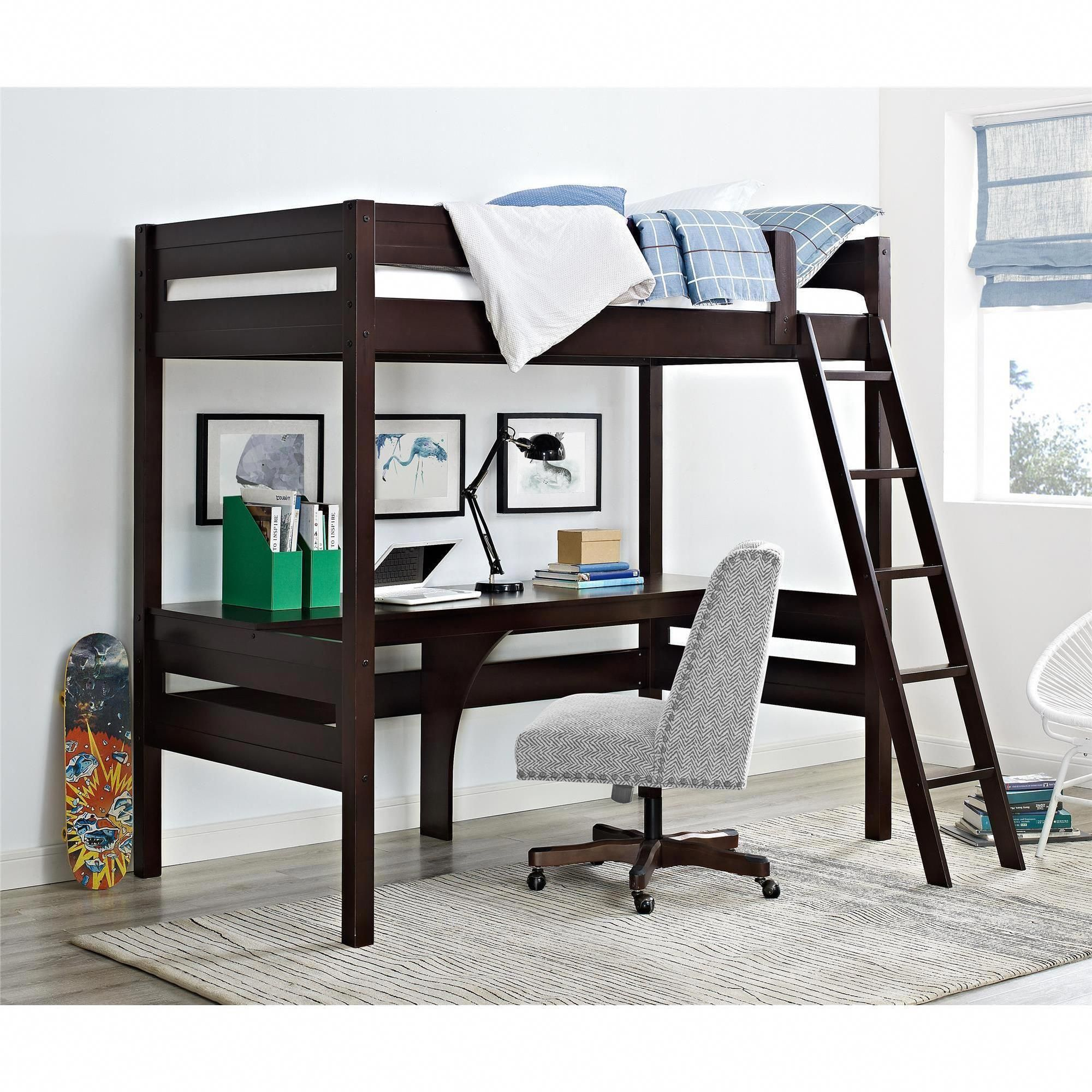 Loft bed with desk and chair  Dorel Living Harlan Loft Bed with Desk Loft bed espresso Brown