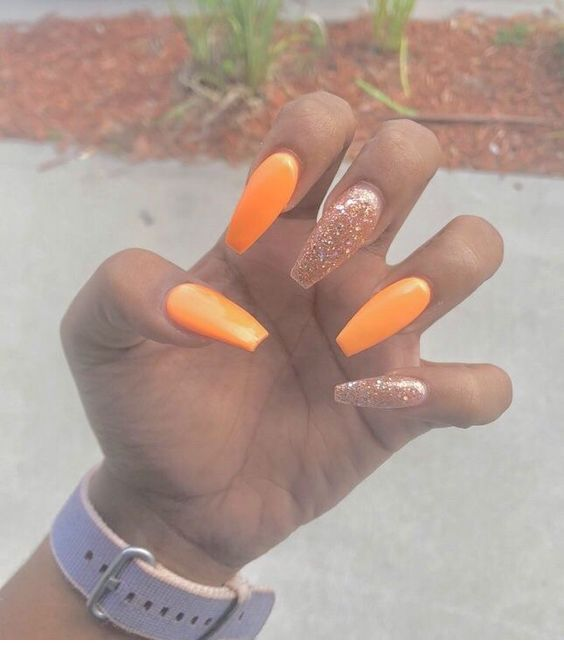 Long Orange And Golden Nails Golden Nails Pretty Acrylic Nails Coffin Nails Designs