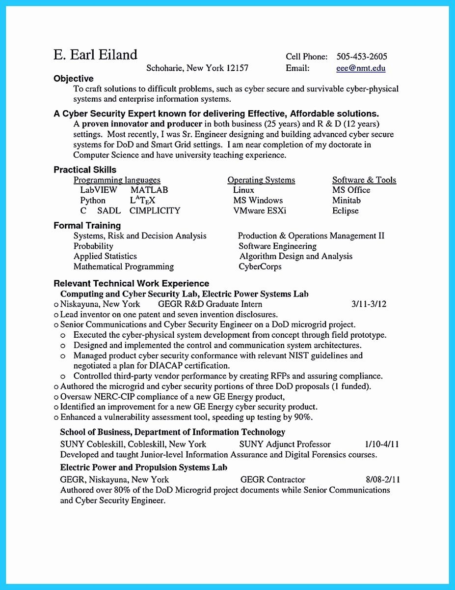 Entry Level Security Analyst Resume Awesome Powerful Cyber