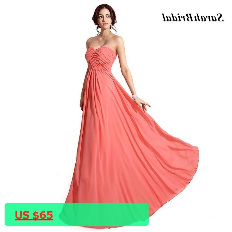 Cheap In Stock Sexy Sweetheart Coral Colored Bridesmaid Dresses