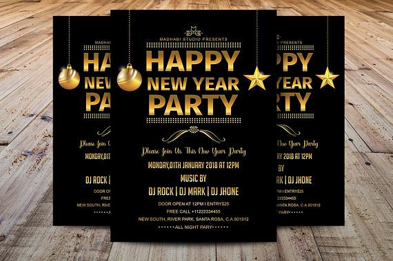 New Year Party Flyer Template Printable New Year Invitation