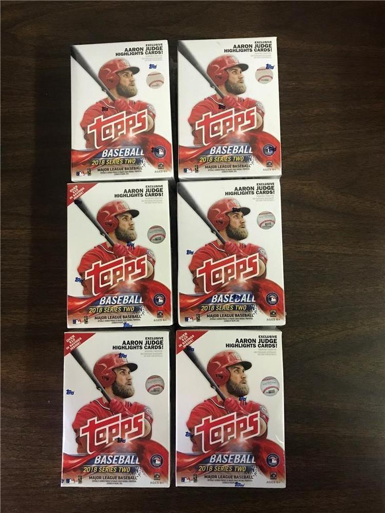 2018 topps baseball series 2 blaster box lot of 6 unopened