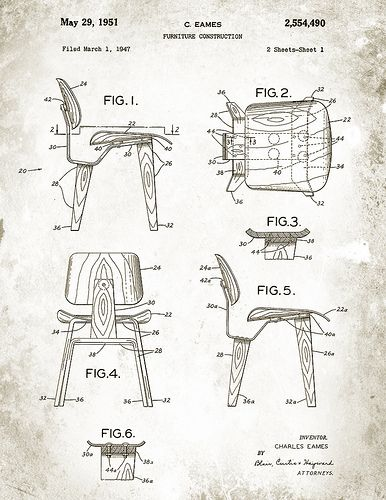 Patent Illustration Charles Eames Eames Chair Illustration