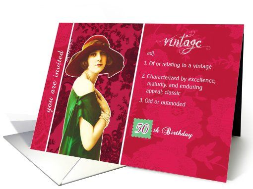 You Are Invited 50th Birthday Party Vintage Woman Red Green
