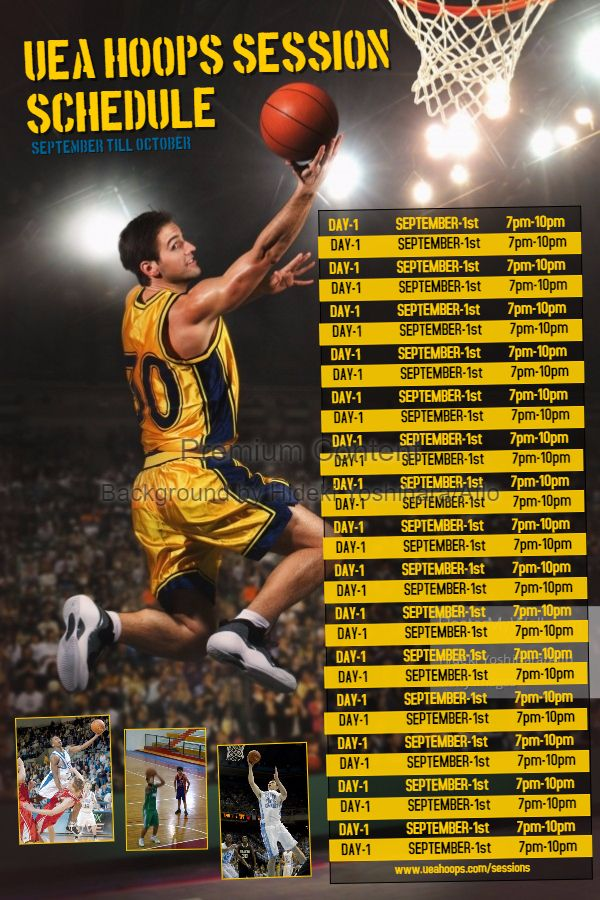 sports team sports schedule poster template yellow sports team