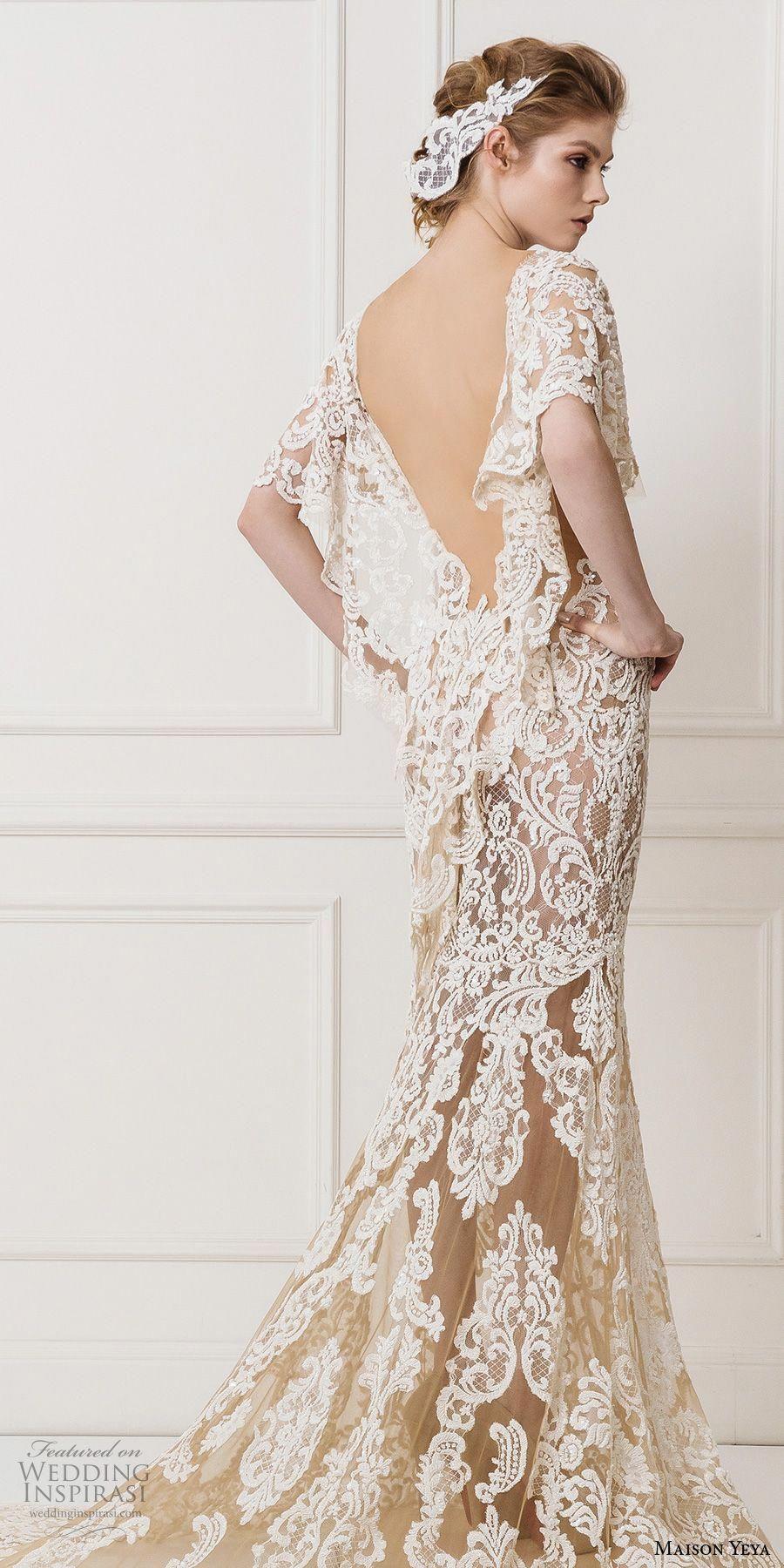 ed90acf115e maison yeya 2017 bridal flutter sleeves v neck full embellishment elegant  lace sheath wedding dress open v back chapel train (8) zbv   ...