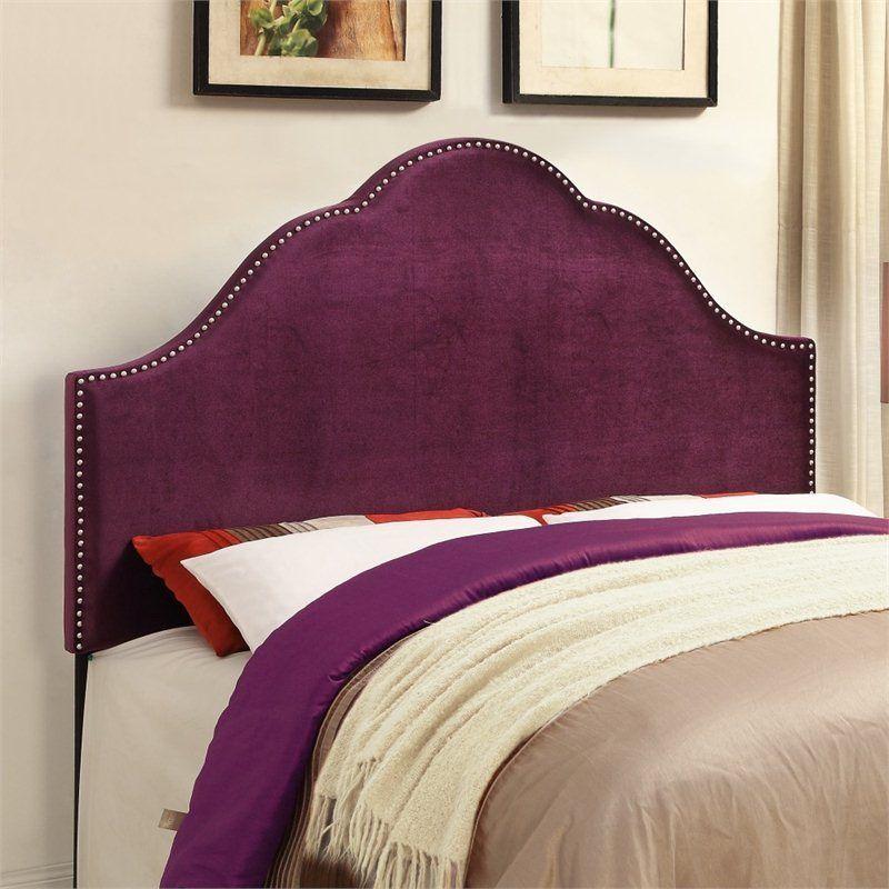 PRI Glam Velvet Upholstered Nailhead Purple Headboard #PRI   play ...