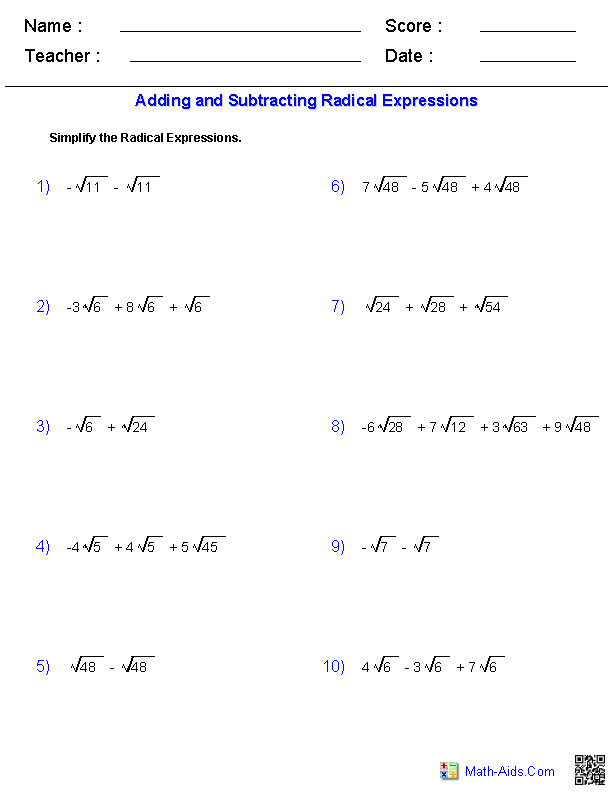 Adding And Subtracting Radical Expressions Worksheets  Tutoring