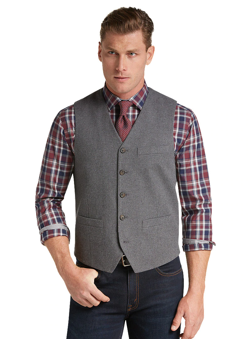 1905 Collection Tailored Fit Cotton Twill Vest CLEARANCE