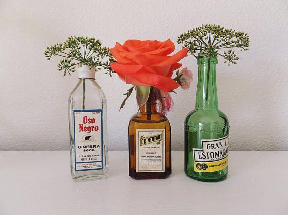 Mini Bottle Vases Liquor Bottle Vase Set Of Mini Vases Glass Vase