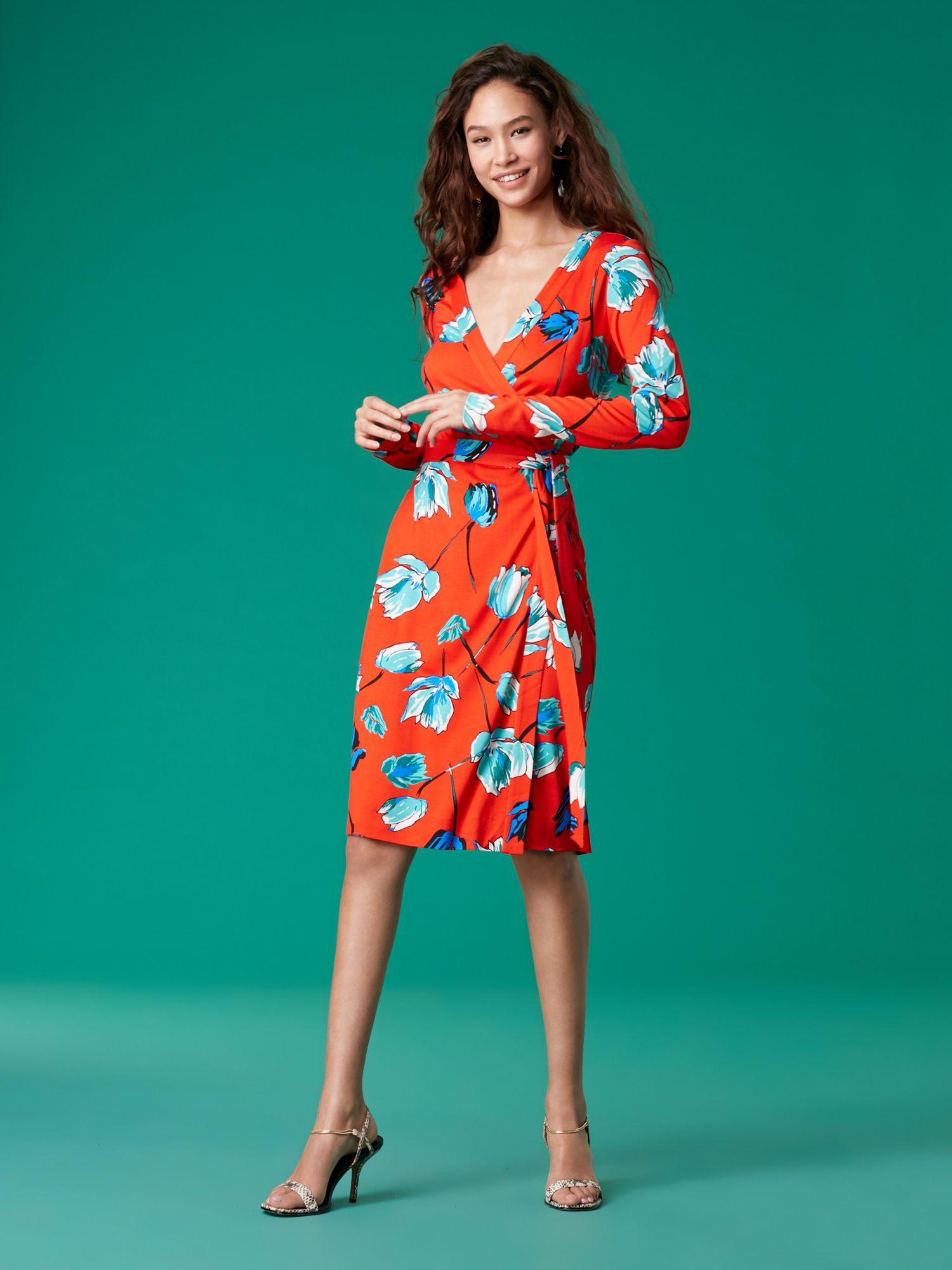 796d39783b5 Diane Von Furstenberg Dvf Julian Banded Silk Jersey Wrap Dress - Asher  Vermillion 10