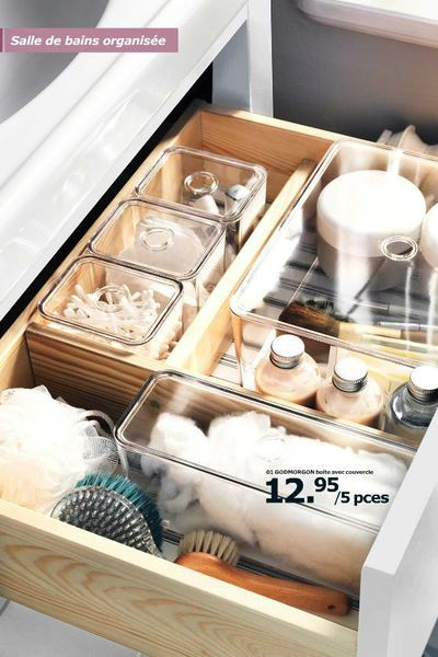 Boites Avec Couvercle Godmorgon 12 95 Euros 5 Pieces Rangement Ikea Salle De Bain Accessoires Salle De Bain Rangement Tiroir Salle De Bain