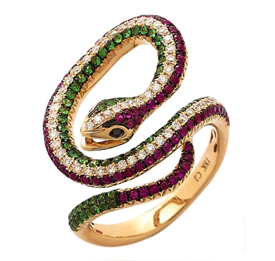 Carol Brodie 18K Yellow Gold Plate Multi-Gemstone Snake Ring