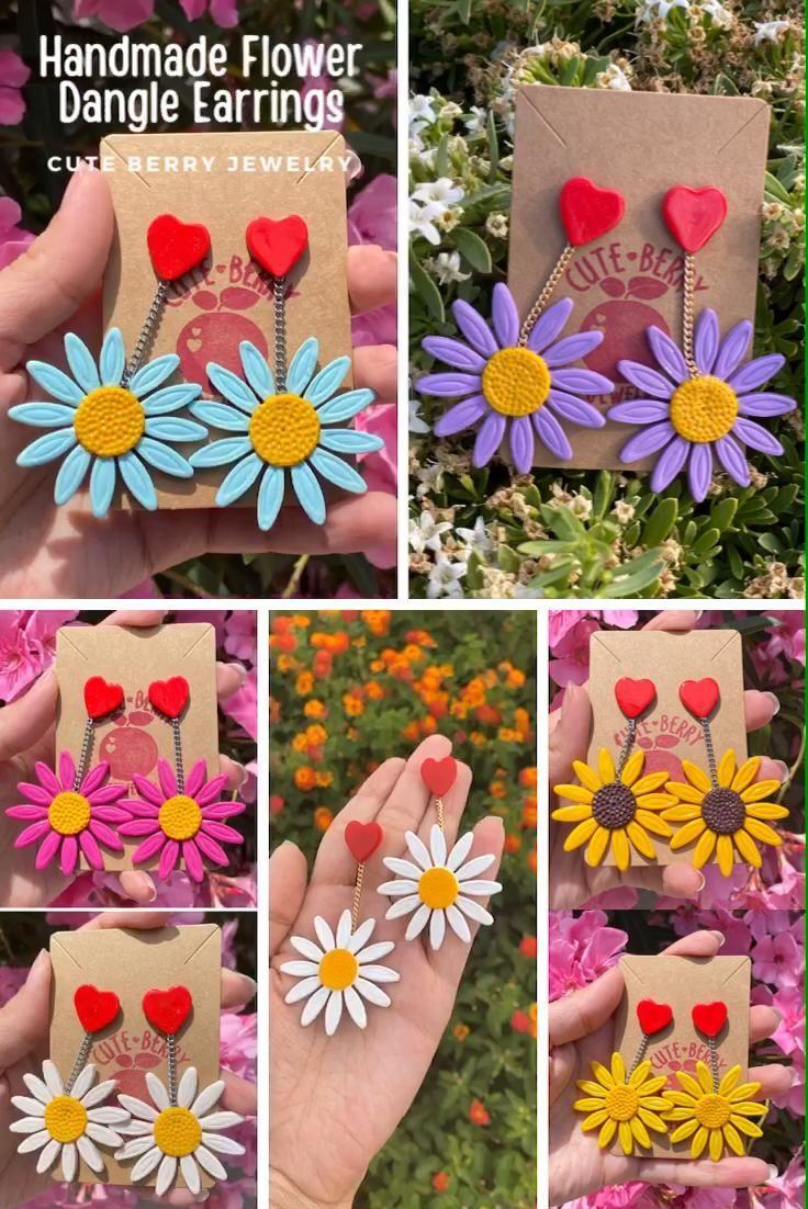 Flower Power– Cute Handmade Daisy Dangle Earrings