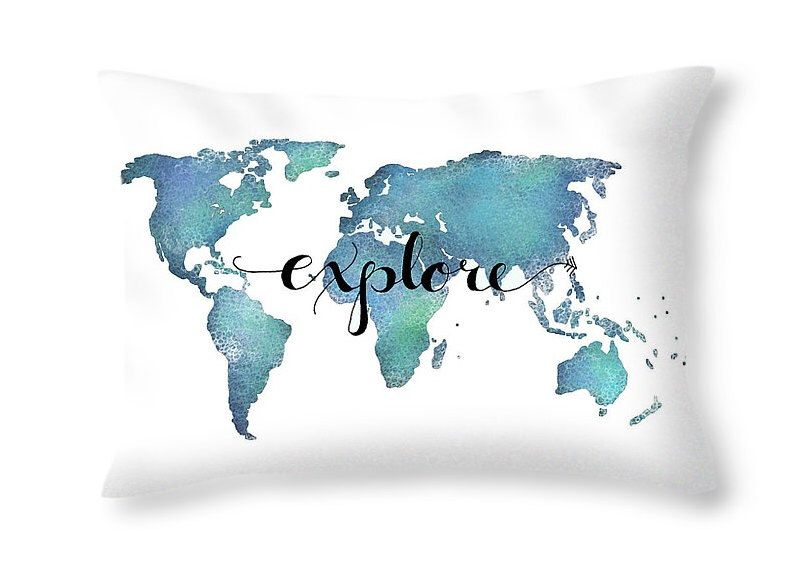 Explore Pillow Quote Pillow World Map Decor Travel Pillow Aqua