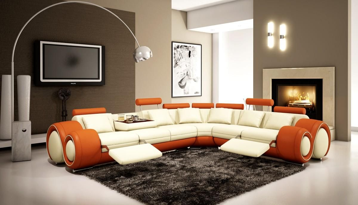 4087 Orange and OffWhite Bonded Leather Sectional Sofa Leather