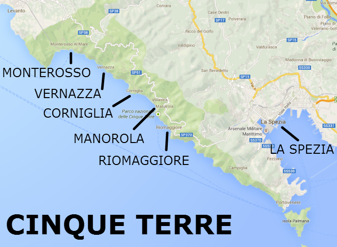 Riomaggiore Italy Map.Map Of The Cinque Terre 5 Towns Starting With Monterossa Al Mare