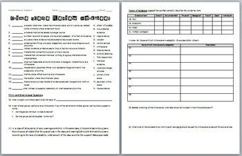 Forensic Science: Crime Scene Review Worksheet and Answer Key ...